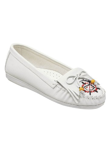 Genuine Leather Beaded Moccasins, White, Size 9 (Beaded Loafer)
