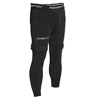 PowerTek V5.0 Men's Compression Fit Hockey Pants, with Cup & Tabs for Socks, S-XL