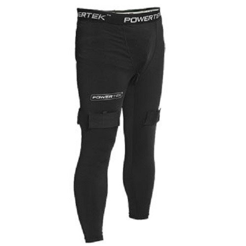 PowerTek V5.0 Junior Boys Compression Fit Hockey Pants, with Cup & Sock Tabs (Small)