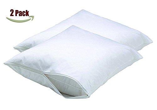 Premium-Quality-Ultra-Soft-Waterproof-Microfiber-Zipper-Pillow-Protector-StandardQueen-Size-Set-of-2