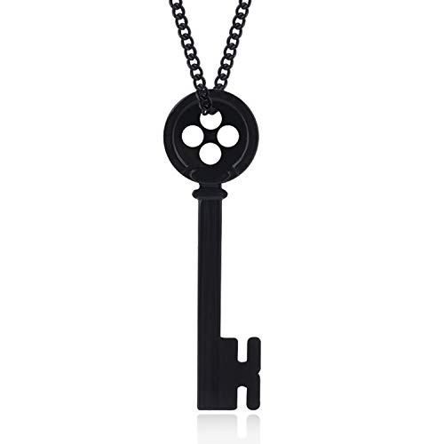 CHITOP Movie Coraline Necklace Pendants Black, Button Key Skull -Nightmare Before Christmas -Choker Kingdom Hearts Jewelry Gift (N08)