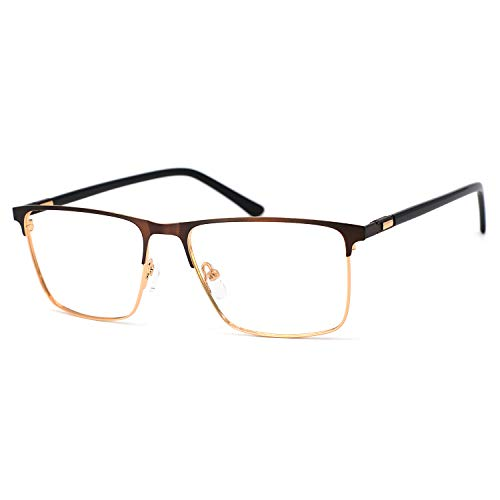 OCCI CHIARI Men Fashion Metal Full-Rim Optical Eyewear frames With Clear Lenses (B-Black ()
