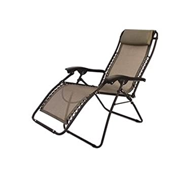 Great Folding Camping XL Recliner Chair Beige RV Patio Chair (Heavy Duty 300lbs  Support)