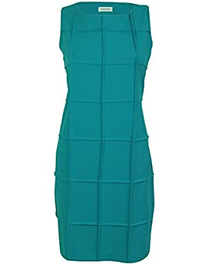 Women's Window-Pane Trim Sheath Dress