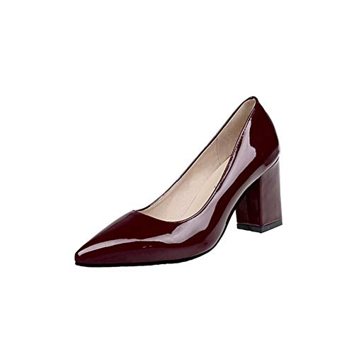 Women Pumps Closed Toe High Heel Patent Leather Square Heel Dress Shoes by Lowprofile Wine -