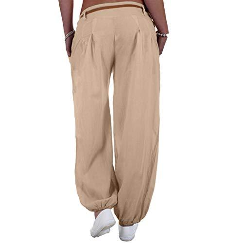 kaifongfu Ladies Loose Pants Women Long Pants Casual Style High Waist Casual Style Sports Yoga Trouser(Beige,S