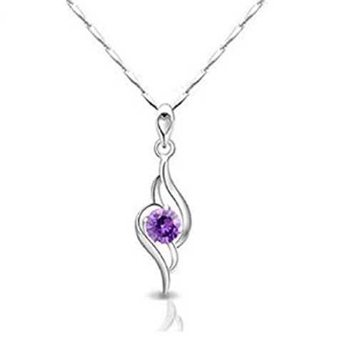 Habors 18K Gold Plated Purple Austrian Crystal Angel Wing Heart Pendant for Women