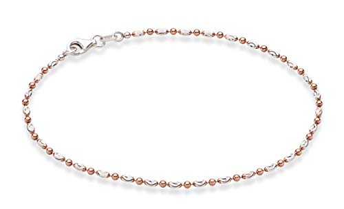 MiaBella 925 Sterling Silver Diamond-Cut Oval Bead Ball Chain Anklet Jewelry for Women Teen Girls 9, 10 inch (9, Rose-Gold-Plated-Silver)