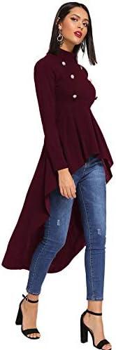 Floerns Women's Double Button Long Sleeve Round Neck Asymmetrical Blouse Tops