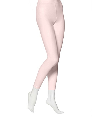 (EMEM Apparel Women's Ladies Solid Colored Seamless Opaque Dance Ballet Costume Full Length Microfiber Footless Tights Leggings Stockings Light Pink C)