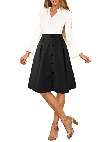 - 31 yF55Q6AL - Blooming Jelly Womens Button Up Skirt A Line Elastic Waist Pockets Midi Length Pleated Zipper Midiskirt
