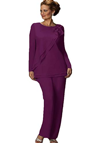 Women's Pants Suit Mother of The Bride Groom Ladies Chiffon Wedding Party Evening Gown Purple