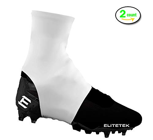 EliteTek Cleat Covers, Spat Wrap, Shoelace Cover, 7v7 Swag - Youth & Adult Sizes (Large, White)