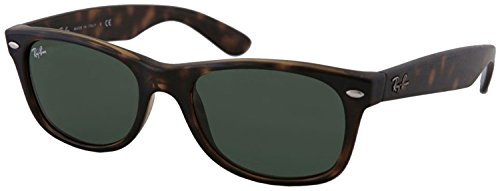 Ray-Ban RB2132 New Wayfarer Sunglasses Unisex 100% Authentic (Tortoise Frame Solid Black G15 Lens, 55) (G15 Lens Sunglasses)