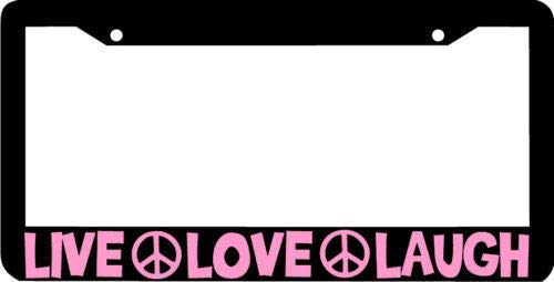 Headwind tactics Black License Plate Frame Novelty Designed Decorative Metal Car License Plate Auto Tag 12 x 6 inch Live Love Laugh Pink