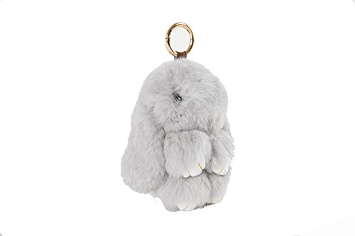 YISEVEN Stuffed Bunny Keychain Toy - Soft and Fuzzy Large Stitch Plush Rabbit Fur Key Chain - Cute Fluffy Bunnies Floppy Furry Animal Doll Gift for Girl Women Purse Bag Car Charm - Light Gray by YISEVEN (Image #1)