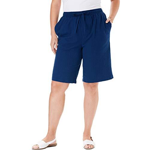 Woman Within Women's Plus Size Seersucker Short - Evening Blue, 16 W