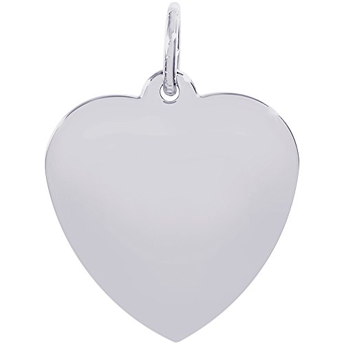 Rembrandt Charms Heart Disc Charm, 14K White Gold Heart Disc 14k Gold Charm