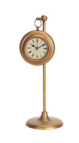 Roman Bronze Hanging - Melrose Pack of 2 Old Fashioned Roman Numeral Hanging Bronze Clock with Stand 16.5""