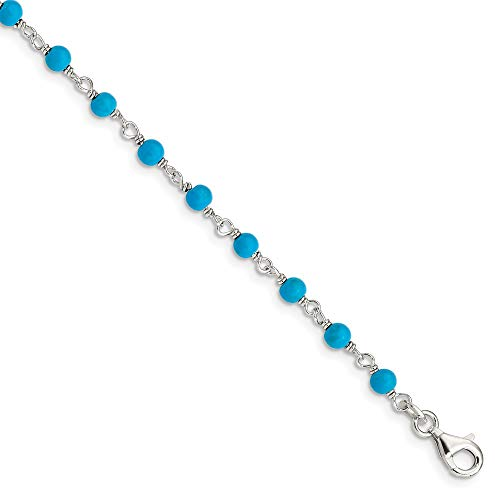 925 Sterling Silver Blue Turquoise Bead Bracelet 7.5 Inch Gemstone Fancy Fine Jewelry Gifts For Women For Her