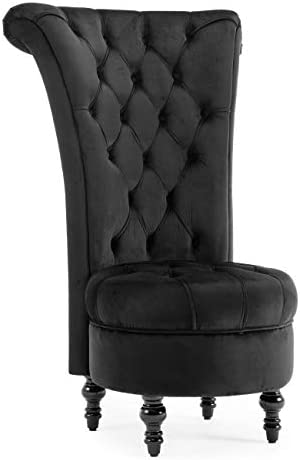 BELLEZE Modern Velvet Tufted Tall Nailhead Trim Cushioned Living Room Accent Ottoman Chair