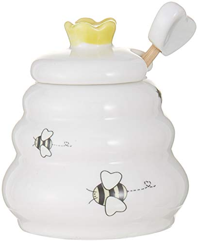 Sweet As Can Bee Ceramic Honey Pot with Wooden Dipper ()