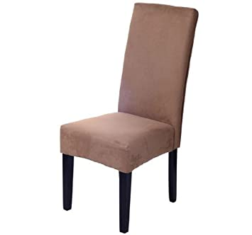 HomCom Faux Suede Contemporary Parson Dining Chair - Brown  sc 1 st  Amazon.com & Amazon.com - HomCom Faux Suede Contemporary Parson Dining Chair ...