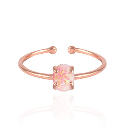 MUSTHAVE 14K Rose Gold Plated Opal Ring, White/Green/Pink Opal Ring, Adjustable Size (Rose Gold)