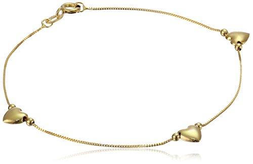 14k Yellow Gold Heart Station Bracelet, 7.5