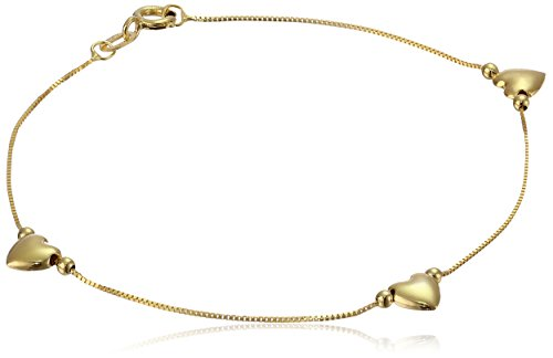 Heart Station Bracelet - 14k Yellow Gold Heart Station Bracelet, 7.5