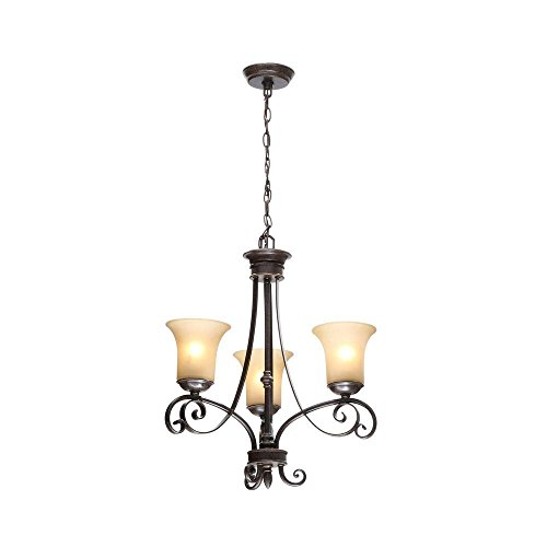Hampton 3-Light Aged Black Chandelier with Tea Stained Glass Shades (Aged black finish creates a unique look evoking rustic (Rustic Stained Glass Chandelier)