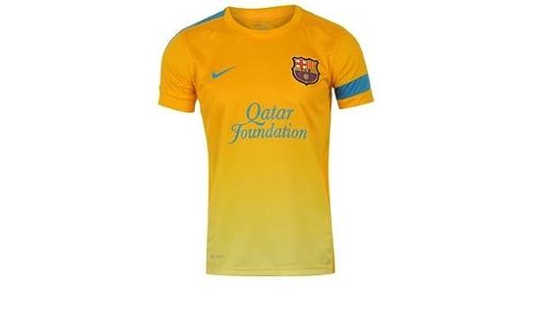 Nike F.C. Barcelona - Camiseta de fútbol para niño, color dorado/azul, talla L: Amazon.es: Deportes y aire libre