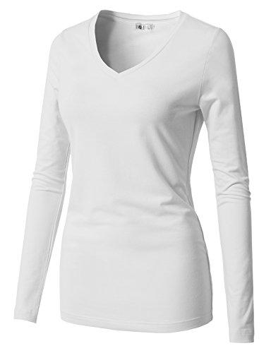 H2H Women Cotton Spandex Long Sleeve Scoop Neck Shirt Top White US M/Asia M (CWTTL0250)