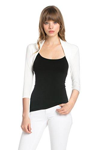 Fashion Secrets Women 3/4 Sleeve Rayon Bolero Shrug Cropped Cardigan (Large, Ivory) - Ivory Bolero