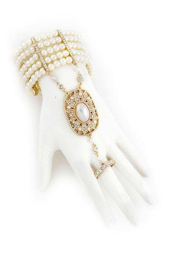 Goldtone Rhinestone Ring Cream Imitation Pearl Slave Ring Stretch Bracelet