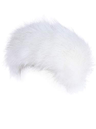 Faux Fur Headband with Elastic for Women's Winter Earwarmer Earmuff (one size,white)
