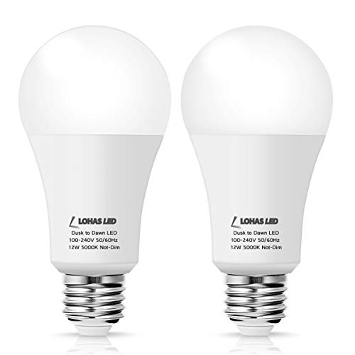 LOHAS A19 LED Dusk to Dawn Light Sensor Bulb E26, 12W(75W-100W Equivalent), Daylight White 5000K, Non Dimmable, 920LM, Auto On and Off, Indoor Outdoor Security Light for Hallway, Garage(2Pack)