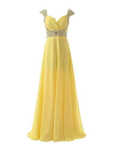Sarahbridal Juniors Prom Dresses Long 2019 Miad of Honor Bridesmaid Wedding Party Gowns Yellow US10