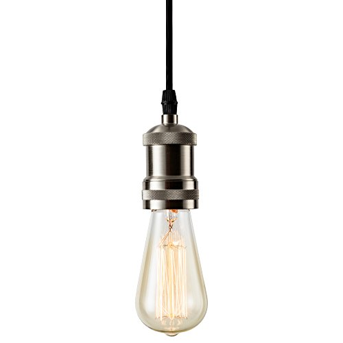 Csinos Vintage 1-Light Socket Mini Pendant Light Fixture E26 Base with Adjustable Black Rope Cord for Home Office Restaurant