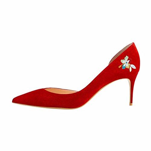Fsj Femmes Basique Slip Sur Dorsay Pompes Talons A Souligné Toe Faux Daim Bureau Robe Chaussures Taille 4-15 Us Papillon Rouge
