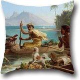 18 X 18 Inches / 45 By 45 Cm Oil Painting Nicholas Chevalier - Race To The Market, Tahiti Pillow Cases,two Sides Is Fit For Kitchen,christmas,home Office,sofa,bf,monther (Twin Fit Dress Form compare prices)