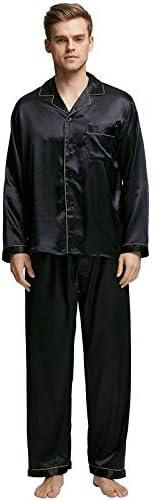 パジャマ CHJMJP メンズステインシルクパジャマセットの男性パジャマシルクパジャマ男性のセクシーなモダンなスタイルのソフトコージーサテンナイトガウン (Color : Golden Piping, Size : XL)