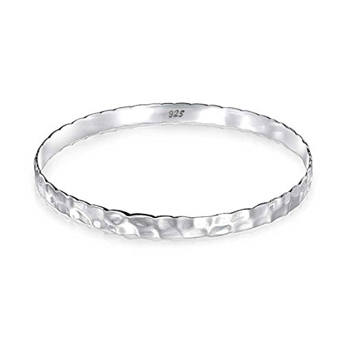 - Hammered Flat Round Honeycomb Stackable Bangle Bracelet For Women For Girlfriend 925 Sterling Silver