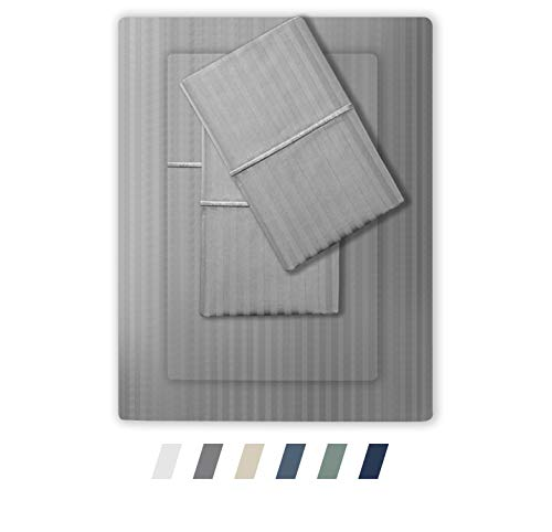Feather & Stitch 500 Thread Count 100% Cotton Sheet Set, Stripe Sheets, Soft Sateen Weave,Full Sheets, Deep Pockets,Hotel Collection,Luxury Bedding Super Sale (Grey, Full) (400 Stripe Set Tc Sheet)