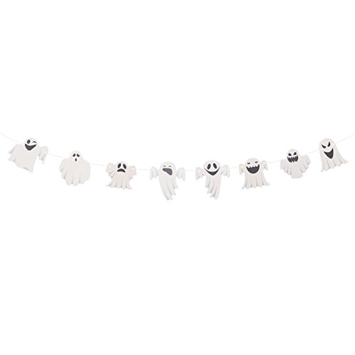 Tinksky Halloween Bunting Banners Cute Ghost Streamer Garland Flags Paper Chain Halloween Decoration Bar KTV House Party Decorative Hanging Ornaments -