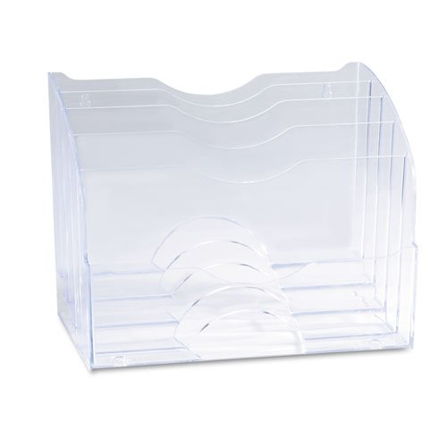 Desk Organizer, 2-Way, 13-5/8''''x8-3/4''''x10-3/8'''', Clear, Sold as 1 Each by Newell Rubbermaid