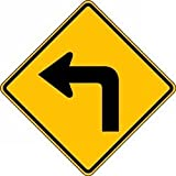 Accuform FRW407HP Traffic Signs Directions Conditions & Crossing (90° TURN LEFT) 30'' x 30'' High Intensity Prismatic