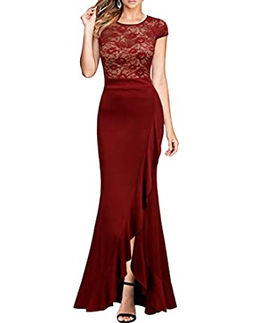 6cba7be6de0 Mmondschein Women s Vintage Floral Lace Ruffle Cocktail Evening Bridesmaid  Maxi Long Dress