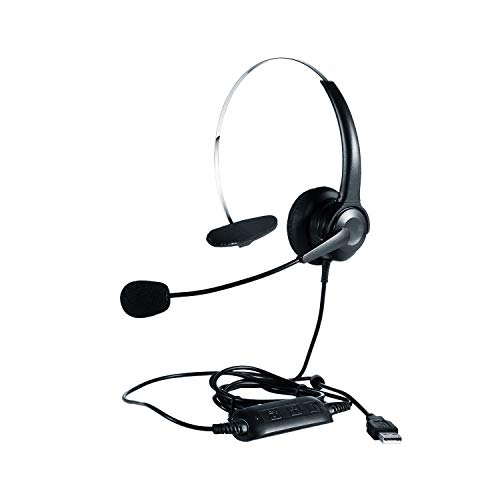 BOSOURCE Wired USB Headset with Noise Cancellation Microphone and Online Control, USB Voice Headset, Business Headset for Skype, Call Center, Voice Chat, Ultra-Lightweight, (Black)