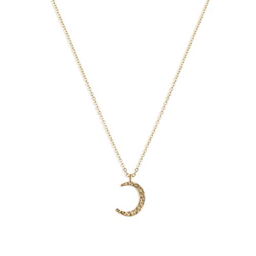 LOYATA Moon Pendant Necklace, 14K Gold Plated Moon Crescent Moon Full Moon Open Circle Hammered Pendant Necklaces Women Crescent Moon Gold…